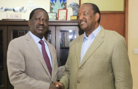 Former Cabinet Minister Joe Nyagah (right) with ODM leader Raila Odinga at Capital Hill offices in 2018.