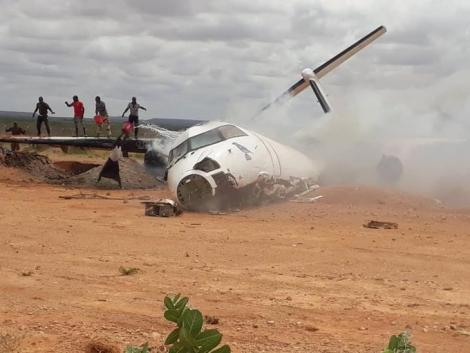 Wreckage of a KDF aircraft that crashed in Voi