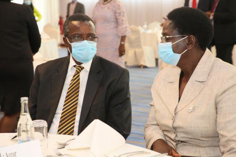 Retired Chief Justice David Maraga with his wife at the celebratory luncheon with governors on January 13, 2021