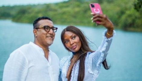 Tourism CS Najib Balala (left) takes selfie with supermodel Naomi Campbell at the Coast.