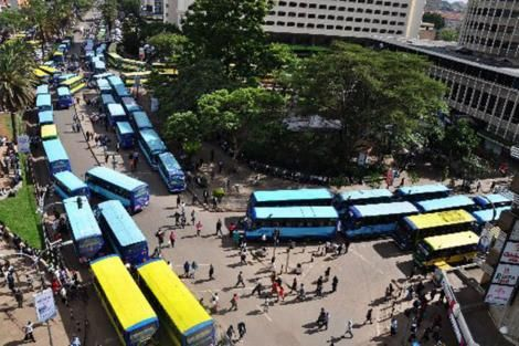 Buses parked at a stage in Nairobi