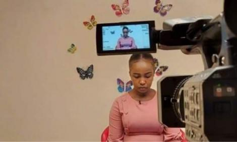 KTN anchor Grace Kuria taping a news briefing from her home.