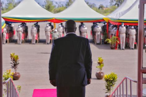 Interior CS Fred Matiang'i during the official opening of 161 cadet officers' training in Ruiru on Thursday, December 10, 2020.