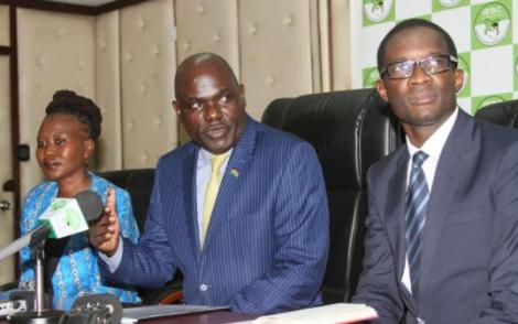 Former IEBC Commissioner Roselyn Akombe (left), Chairman Wafula Chebukati and former CEO Ezra Chiloba,