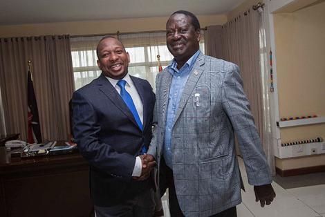 Opposition leader Raila Odinga (right) hosted Nairobi Governor Mike Sonko (left) at his Capitol Hill office on April 20, 2018