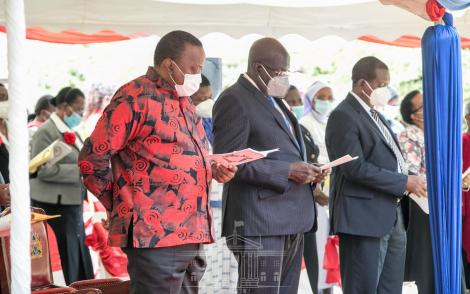 President Uhuru Kenyatta and Education CS George Magoha at the commemoration to 100 years of the Loreto Eastern Africa Province at Loreto Mary Ward Center in Karen, Nairobi County