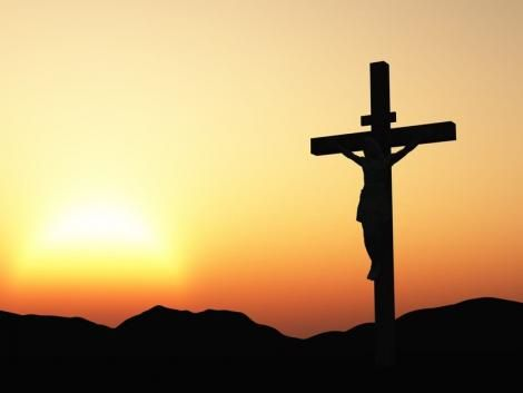 A silhoutte of a cross resembling the one Jesus Christ was nailed on.