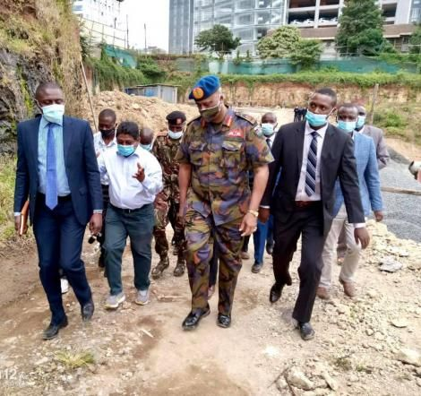 Nairobi Metropolitan Service Director General Mohammed Badi (Blue Berret) pictured at a construction site in Parklands, Nairobi. July 13, 2020.