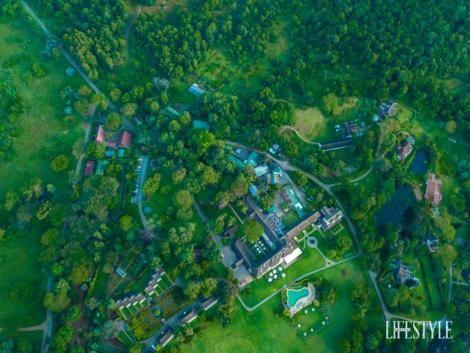 An aerial view of Mt Kenya Safari Club
