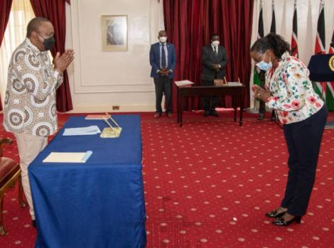 Beatrice Elachi with President Uhuru Kenyatta on February 19, 2021.