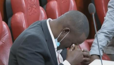 Kakamega Senator Cleophas Malala wipes off tears in the Senate on September 14, 2020.