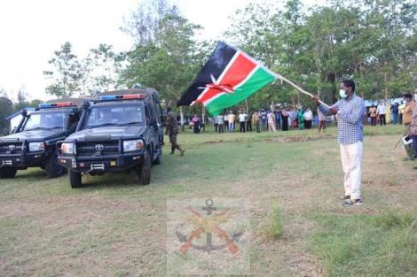 Agriculture CS Peter Munya flags off the vehicles donated by the force to fight locusts