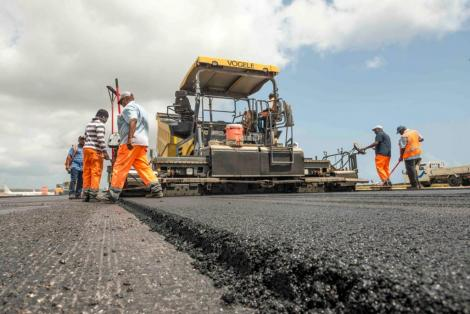 Contractors working on a road in Kenya.