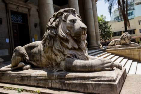 Lion Statue at McMillian Memorial Library