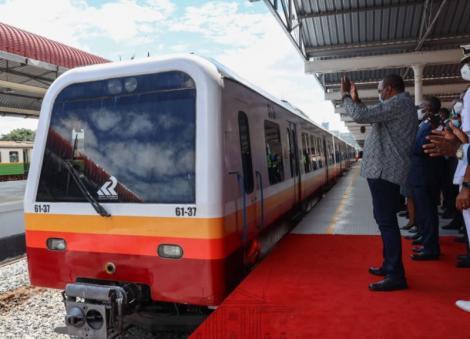 President Uhuru Kenyatta flagging off the first train at Nairobi Central Station on November 10, 2020.
