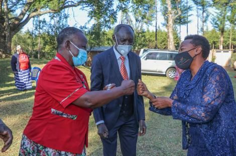 Mrs Olasya (left), Mr. Naftali Olasya (middle) and Second Lady Mama Ruto (right) sharing a happy moment on Friday February 26