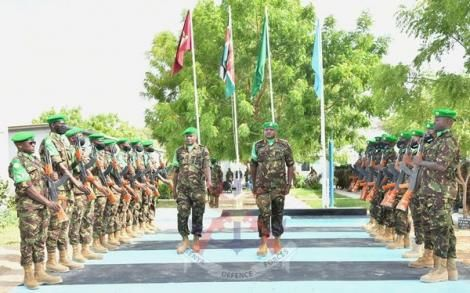 Brigadier Jeff Nyagah (left) and Brigadier Paul Njema (right) during a parade inspection at AMISOM Sector II Headquarters in Dhobley in February 2021