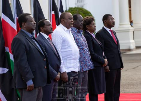 President Uhuru Kenyatta (in white) with other political leaders during an address at State House on Thursday, February 25, 2021