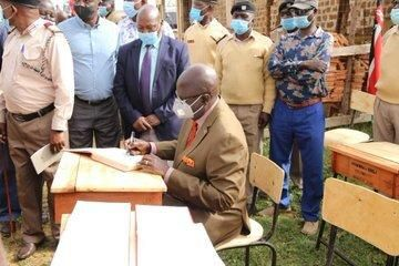 Education CS Prof. George Magoha at a workshop in Busia county on Saturday, February 20, 2021