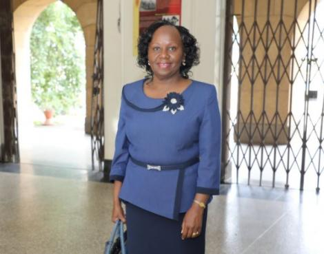 Prof. Patricia Kameri-Mbote arriving at the Supreme Court to be interviewed for the position of Chief Justice on April 13, 2021.