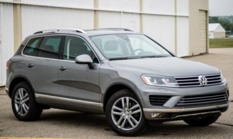 A stock photo of a Volkswagen Touareg model