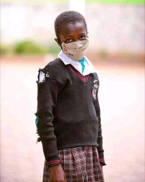 Peris Chebet, a grade one student whose photo went viral on Thursday, April 15