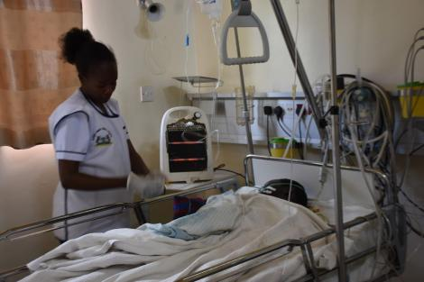 A nurse attends to a patient at an ICU ward at the Moi Teaching and Referral Hospital in Eldoret, Uasin Gishu County in January 2020