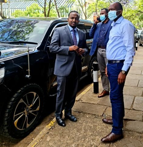 Nairobi Chairman of Matatu Operators Jamal Ibrahim arrives in Nairobi CBD for a meeting