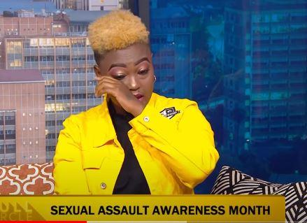 Switch Presenter Nana Owiti tearing up during an interview
