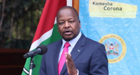 Health Cabinet Secretary Mutahi Kagwe addressing the media on November 26, 2020