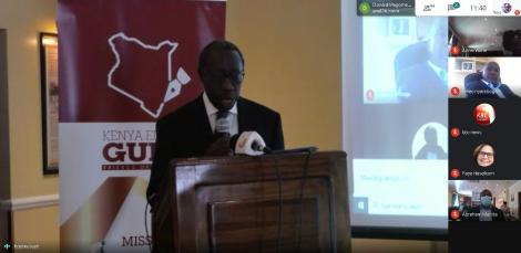 Justice William Ouko at the launch of the Guide to Court Reporting in Kenya on September 15, 2020