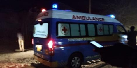 An ambulance packed near the scene of crime on Wednesday, April 21.
