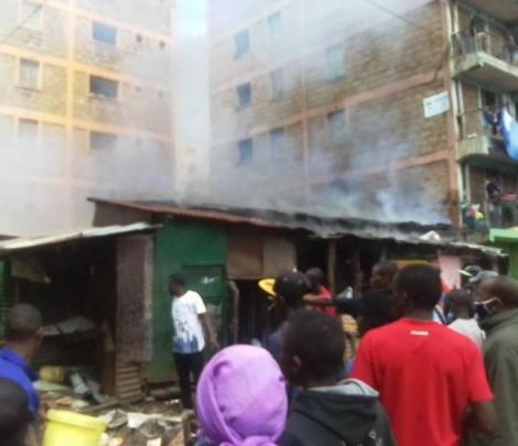 A fire incident in Kariobangi on April 7, 2021.