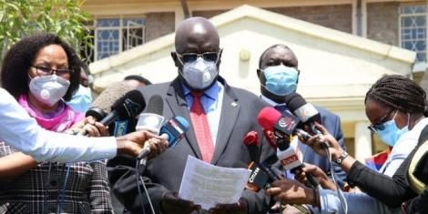 Education CS George Magoha speaking during a press briefing on Wednesday, April 14