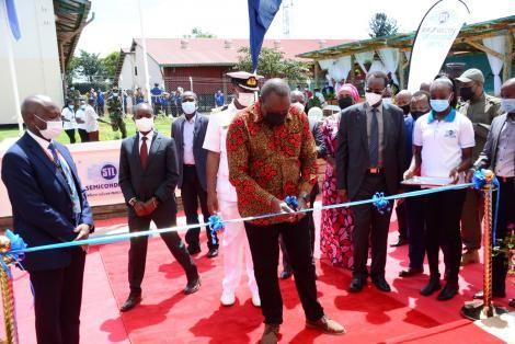 President Uhuru Kenyatta officially opened the Semi-Conductor Technology Factory at Dedan Kimathi University of Technology on April 26, 2021