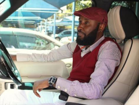 Media personality Shaffie Weru in his car
