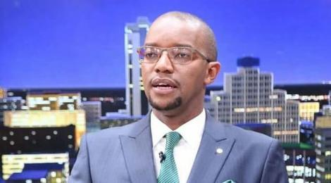 Citizen TV Anchor Waihiga Mwaura during a broadcast in December 2019.