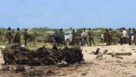KDF officers at the scene of the incident in Somalia