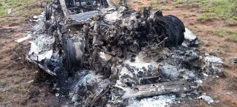 Remnants of the burnt Range Rover found at Ngong Forest