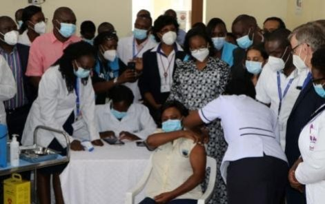 The first shots of the Covid-19 vaccines being administered in Kenya on March 5, 2021.