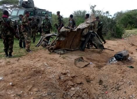 KDF soldiers at the scene of a past al-Shabaab attack in Northern Kenya