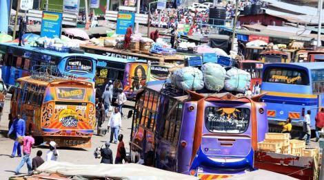 Buses and matatus pick up upcountry travellers at Nairobi's famous Machakos country bus station