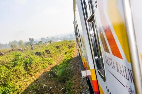 A train on a test ride on the Nakuru- Kisumu Railway line.