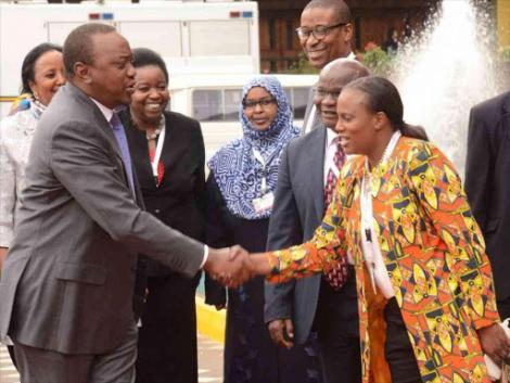 President Uhuru Kenyatta greets his niece Nana Gecaga during their past meeting.