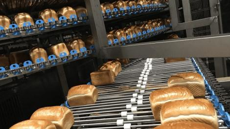 Loaves of bread being baked at a bakery