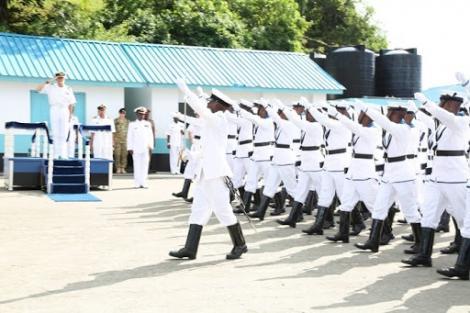 Kenya Navy half guard marching past the dais at a past function.