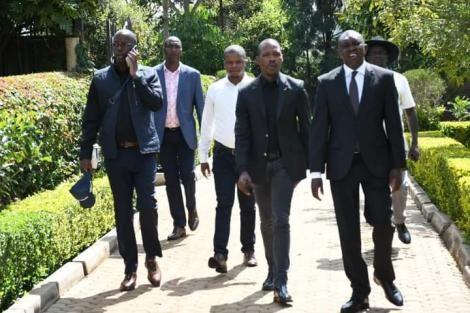 Raila Odinga junior (left) flanked by Kapseret MP Oscar Sudi on Wednesday, May 26