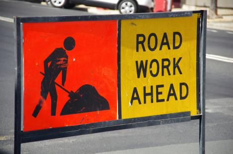 Construction signage at a road construction site. Source Facebook