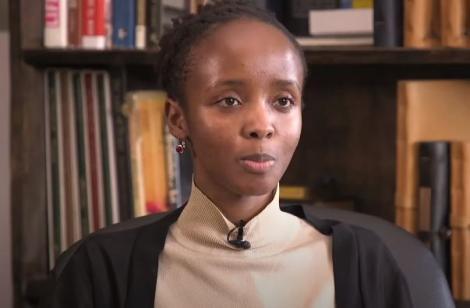 Photo of Anne Mwariri speaking to CHAMS Media TV from the Erregatti workplace in Nairobi taken on May 31, 2021.