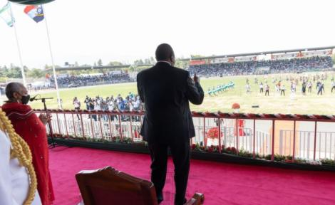President Uhuru Kenyatta follows the Madaraka proceeding in Kisumu on Tuesday, June 1, 2021.